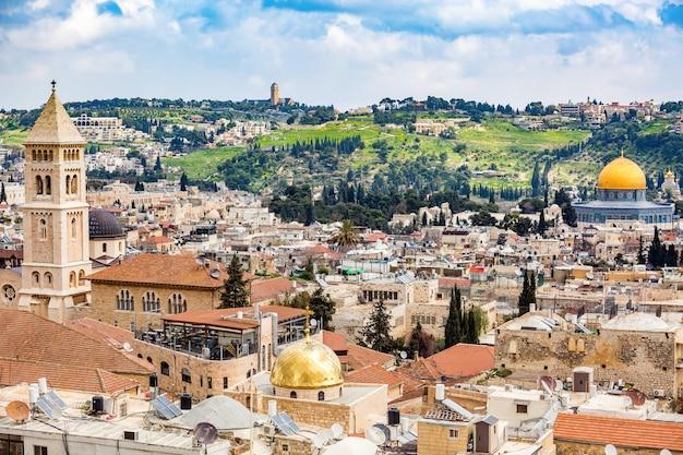 Uitzicht op de oude stad jeruzalem Premium Foto