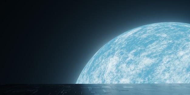 Uitzicht op de planeet aarde vanuit de ruimte en reflectie grunge sci fi vloer Premium Foto