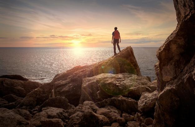 Uitzicht op de zonsondergang Premium Foto