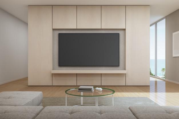 Uitzicht op zee woonkamer met televisie in een modern, luxe strandhuis Premium Foto
