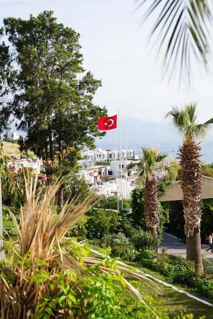 Uitzicht vanaf bodrum sity, palmbomen, zee en de turkse vlag Premium Foto