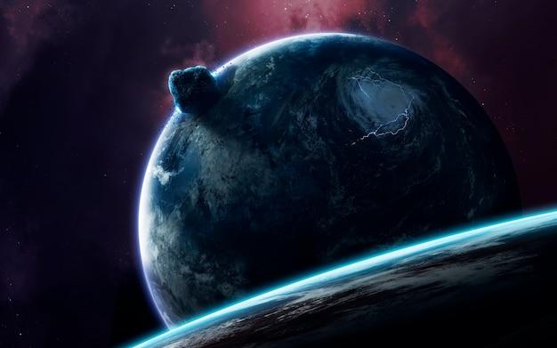 Universum gevuld met sterren, nevels, melkwegstelsels en planeten Premium Foto