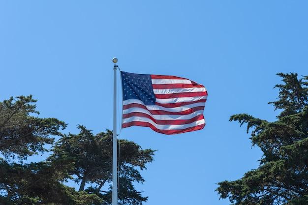 Usa vlag in de wind. Premium Foto