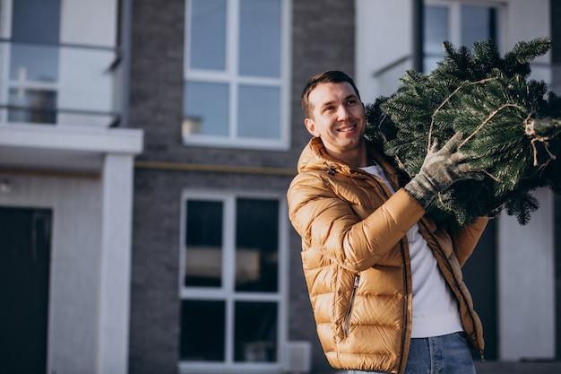 Vader met kerstboom thuis Gratis Foto