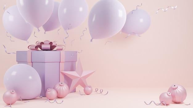 Vakantie kerstmis en gelukkig nieuwjaar pastel roze kleur achtergrond met een geschenkdoos en ballon., 3d-model en illustratie. Premium Foto