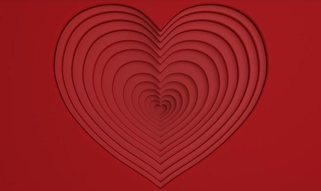 Valentijnsdag 3d diepte hart. Premium Foto