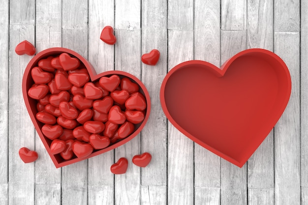 Valentijnsdag achtergrond. 3d-weergave Premium Foto
