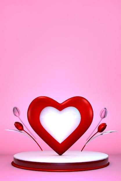Valentijnsdag podium met romantisch hart en tulpenbloemen. cilindervorm voor productvertoning. 3d illustratie. Premium Foto