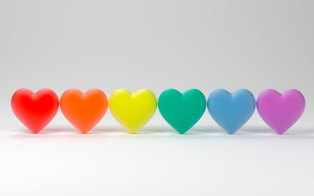 Valentine harten trots kleuren achtergrond Premium Foto