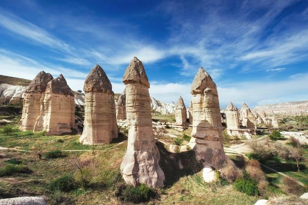 Vallei van liefde in de zomer, goreme, cappadocia, turkije Premium Foto