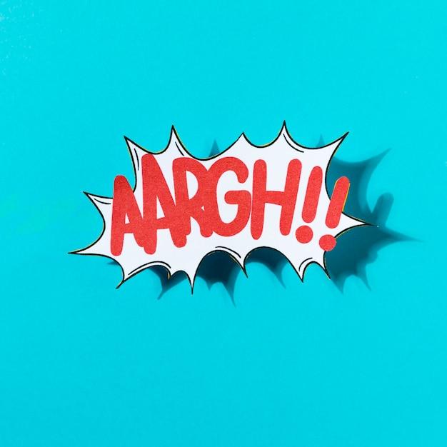 Vectorillustratie van een grappig geluidseffect aargh op blauwe achtergrond Gratis Foto