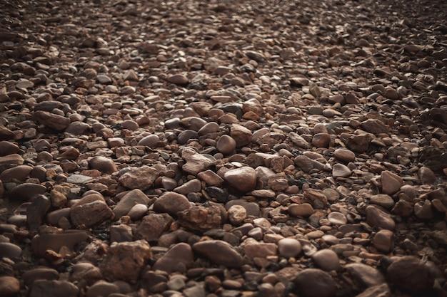 Veel bruine ronde keien ingebed in de vloer met verschillende vormen en maten. zenith weergave Premium Foto