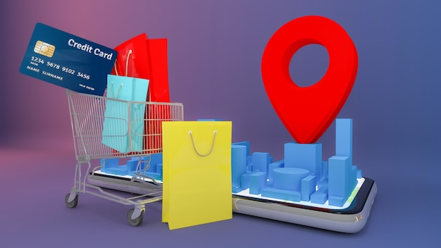 Veel papieren tas en prijskaartje en creditcard in een winkelwagentje met mobiele digitale stadsplattegrond met rode speldwijzers. online winkelen en leveringsconcept. Premium Foto