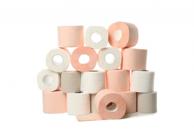 Veel rollen wc-papier geïsoleerd Premium Foto