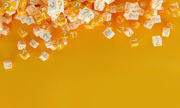 Veel vallende blokken met vraagtekens. 3d illustratie Premium Foto