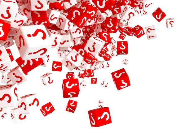 Veel vallende rode en witte dobbelstenen met vraagtekens aan de zijkanten. 3d illustratie Premium Foto