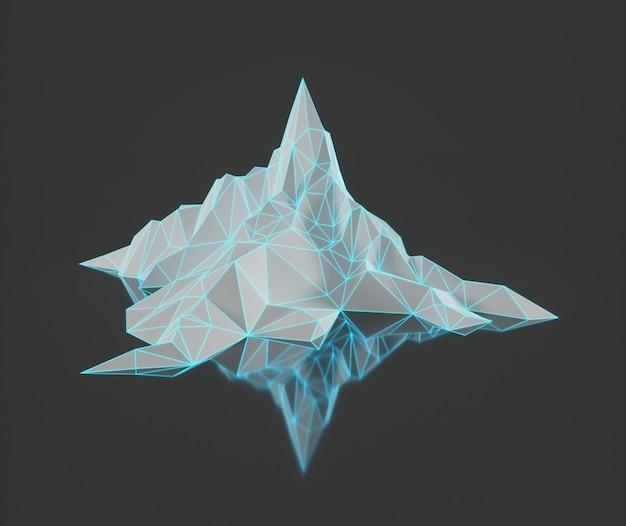 Veelhoekbeeld van bergtoppen met een gloeiende verlichte 3d-afbeelding Premium Foto