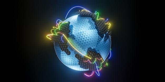 Veelhoekige 3d-wereldbol met wereldwijde lijnverbindingen., wereldwijd sociaal netwerk., 3d-model en illustratie. Premium Foto