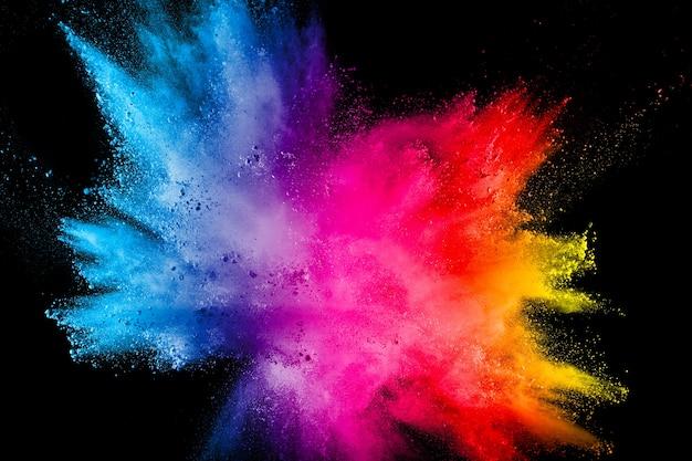 Veelkleurige poederexplosie op zwarte achtergrond Premium Foto
