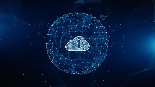 Veilig digitaal datanetwerk. cloud computing cyber veiligheidsconcept. earth element ingericht door nasa Premium Foto