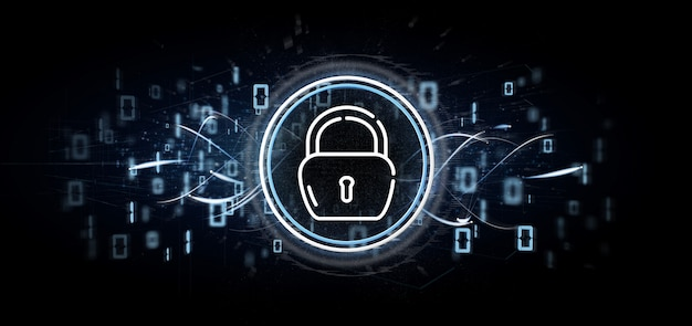 Veiligheid hangslot wiel pictogram met multimedia en sociale media pictogram 3d-rendering Premium Foto