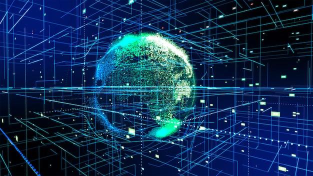 Verbinding rond de aarde, thema-achtergrond met lichteffect. abstracte technologie achtergrond 3d-rendering Premium Foto