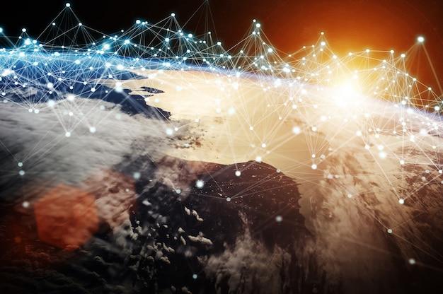 Verbindingssysteem en gegevensuitwisselingen bij 3d-weergave op aarde Premium Foto