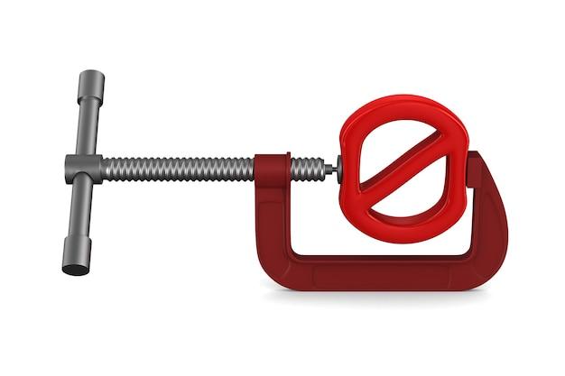 Verboden teken en klem. geïsoleerde 3d-weergave Premium Foto