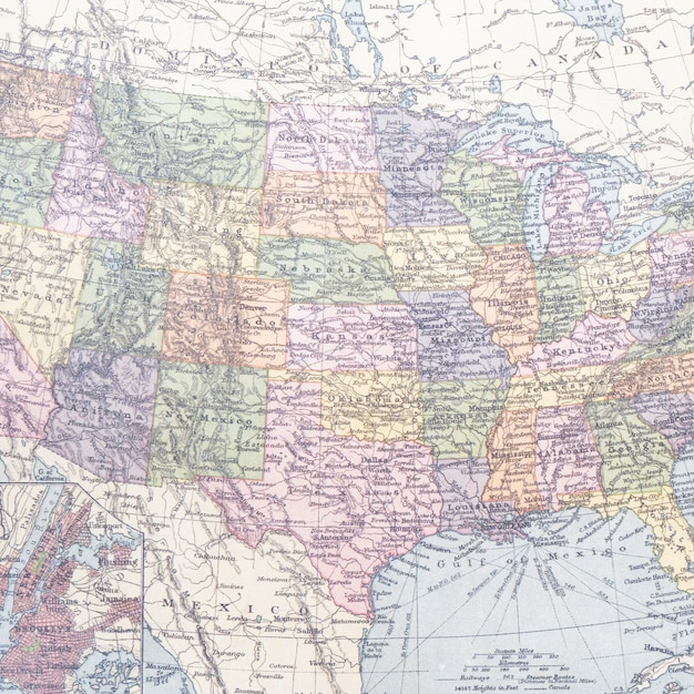 Verenigd vermeld van amerika hele kaart Gratis Foto