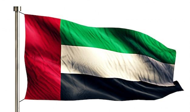 Verenigde arabische emiraten national flag geïsoleerde 3d witte achtergrond Gratis Foto
