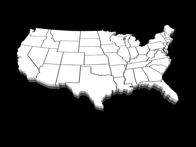 Verenigde staten witte kaart 3d Premium Foto