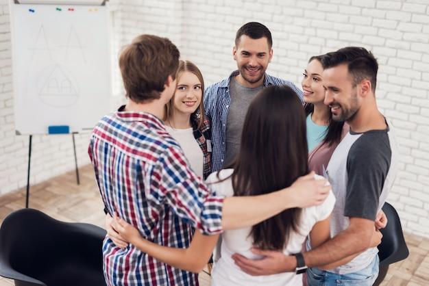 Vergaderingen in ondersteuningsgroepen van ondersteuning Premium Foto