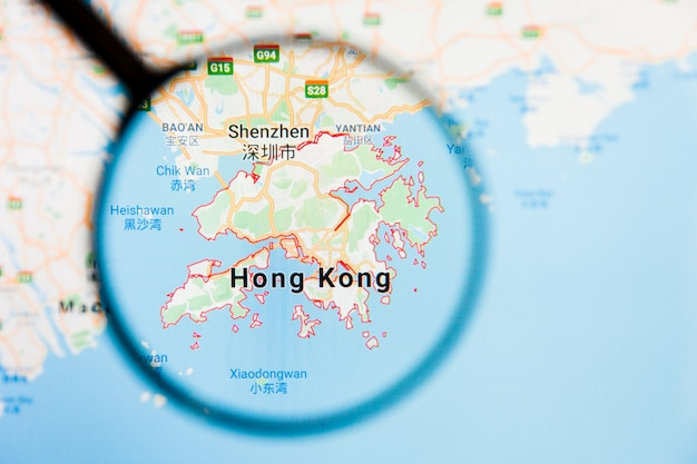 Vergrootglas op de kaart van china Premium Foto