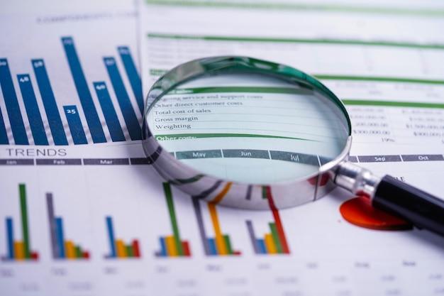 Vergrootglas op grafieken spreadsheetpapier. financiële ontwikkeling, bankrekening, statistiek, investering analytische onderzoeksdata-economie, beurshandel, bedrijfskantoor. Premium Foto