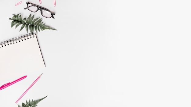Verhoogde mening van spiraalvormige blocnote; pen; potlood; kunstmatige varens; bril en paperclips op witte achtergrond Gratis Foto