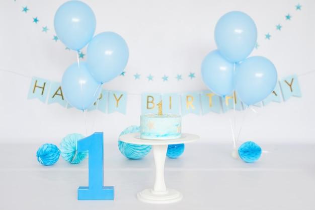 Verjaardag 1 jaar cake smash decor Premium Foto