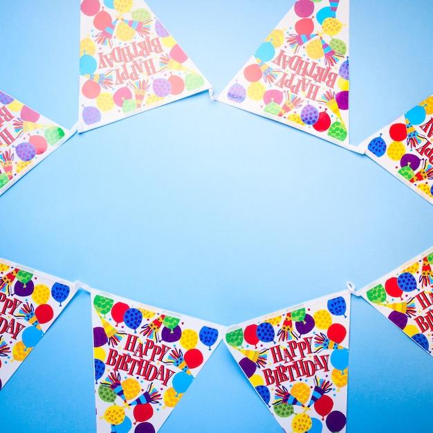 Verjaardag partij blauwe achtergrond Premium Foto