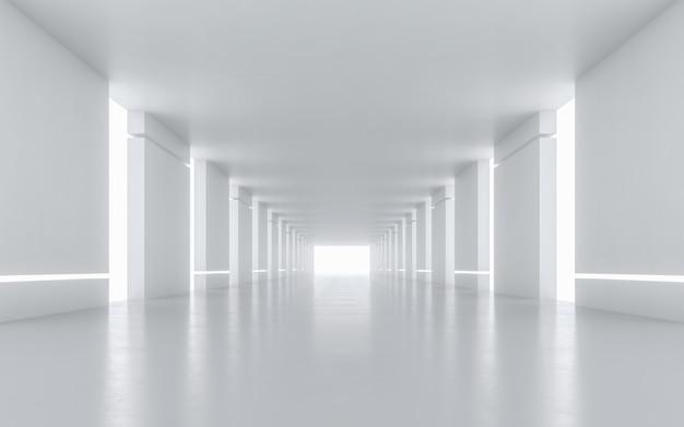 Verlicht corridor interieur. 3d-rendering. Premium Foto
