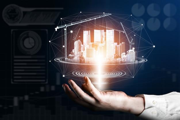 Vernieuwde bouwarchitectuur en -techniek die blijkt uit toekomstig bouwontwerp. Premium Foto