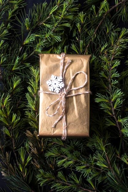 Verpakt geschenk op boomtakken Gratis Foto