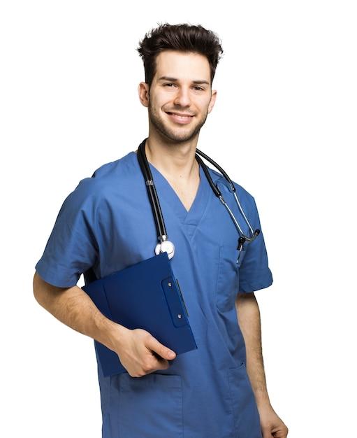 Verpleger op wit wordt geïsoleerd dat Premium Foto