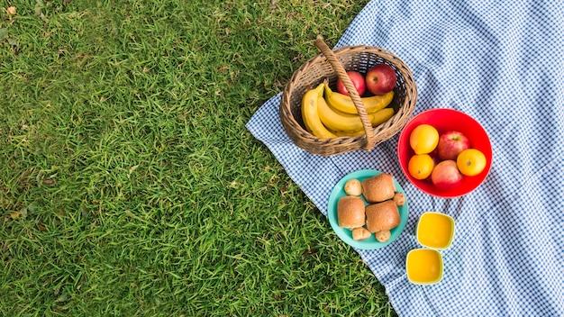Vers fruit; brood en glazen sap op deken over groen gras Gratis Foto