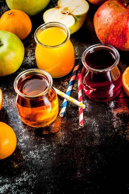 Vers fruit en sappen variëteit Premium Foto