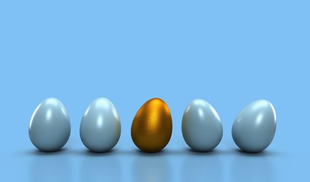 Verschillend ideeconcept, één gouden ei met gloeiend één van ander ei op lichte cyaanpastelkleur. ander idee voor leiderschapsidee Premium Foto