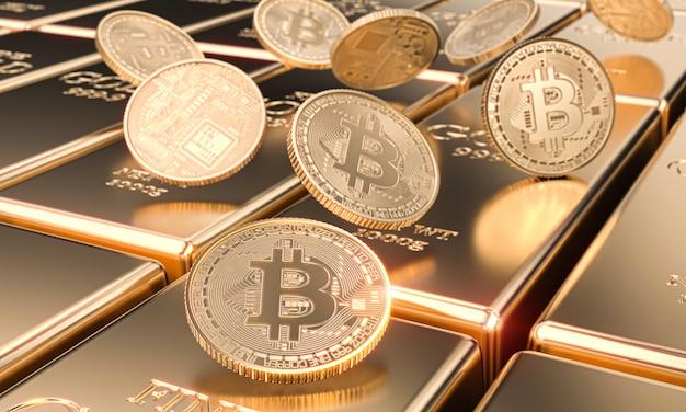 Verschillende bitcoin-motieven op goudstaven, cryptocurrency en virtual finance-concept. Premium Foto