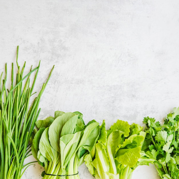 Verschillende groene groenten gerangschikt in een rij Gratis Foto