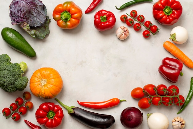 Verschillende groenten circulaire frame Premium Foto