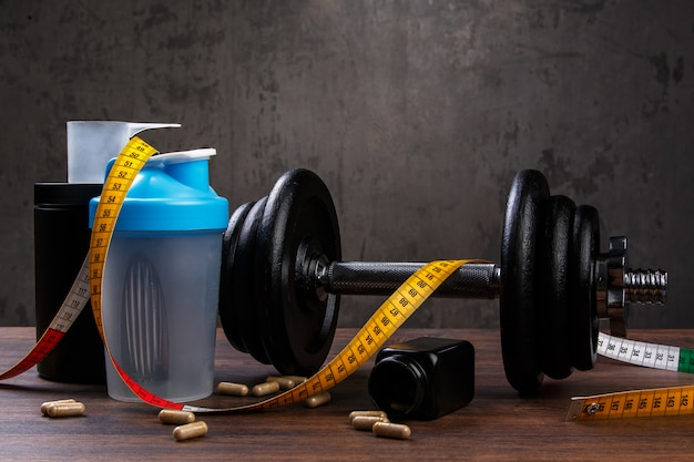Verschillende items voor fitness Premium Foto