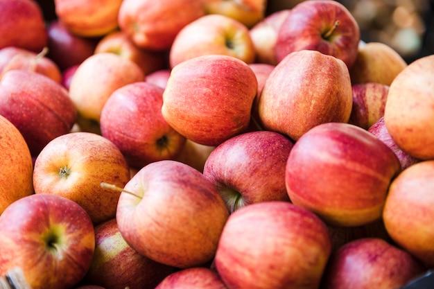 Verse biologische rode appels van de lokale boerenmarkt Gratis Foto