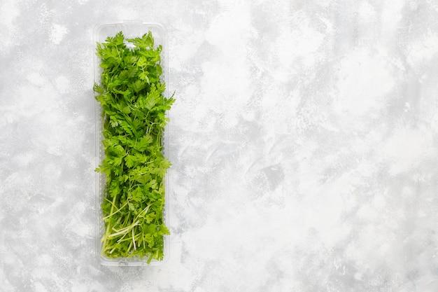 Verse groene bergkoriander in plastic dozen op grijs beton Gratis Foto
